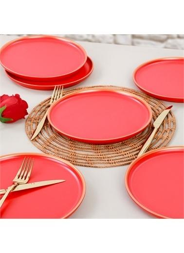 Keramika Nordic Gold Mat Kırmızı Pasta Tabağı 22 Cm 6 Adet Renkli
